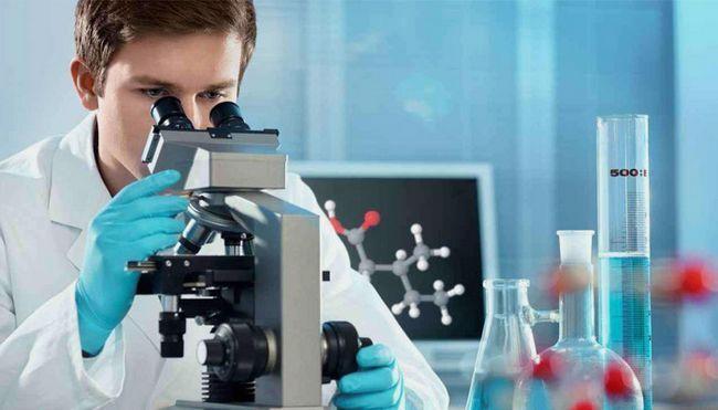 Лаборант дивиться в мікроскоп