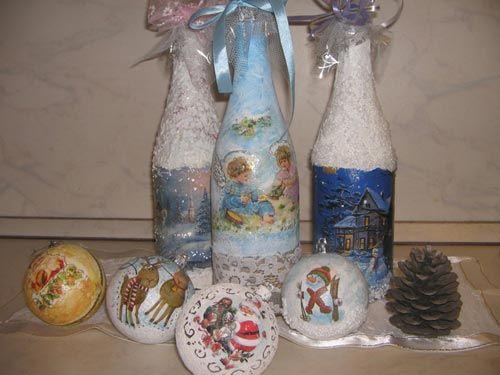 Декор пляшки в новорічному стилі