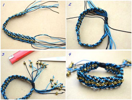Як зробити браслет-макраме з ниток з намистинами своїми руками