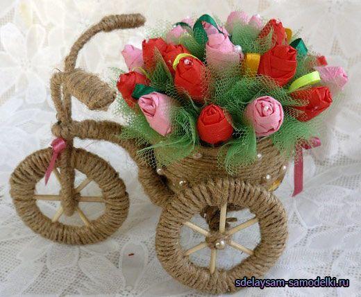 Виріб з шпагату і дроту, велосипед ваза
