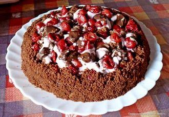 Шоколадний торт з вишнею в мультиварці