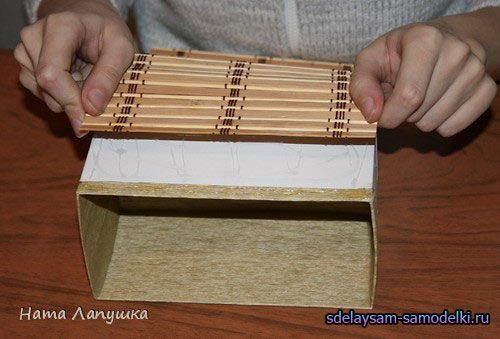 Скриня з картону і дерев`яної серветки