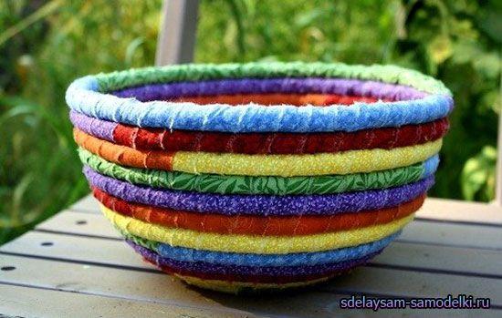 Тарілка з різнокольорових шнурків