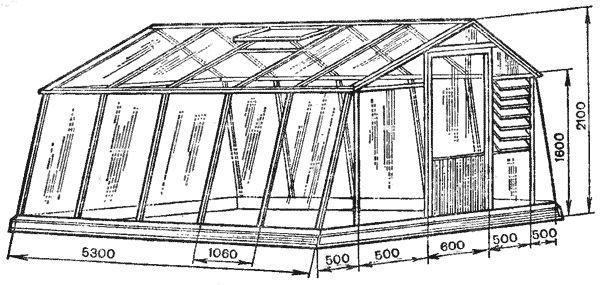 Збірна весняна плівкова теплиця з парникових рам площею 13,8 м2
