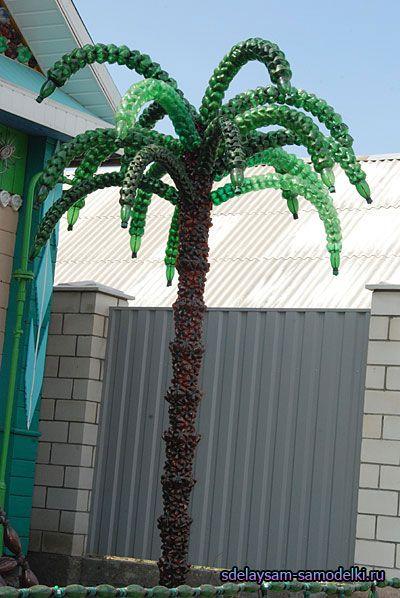 Прикраса двору. Пальма з пластикових пляшок