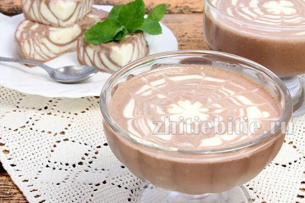 Желе «зебра» зі сметани і какао